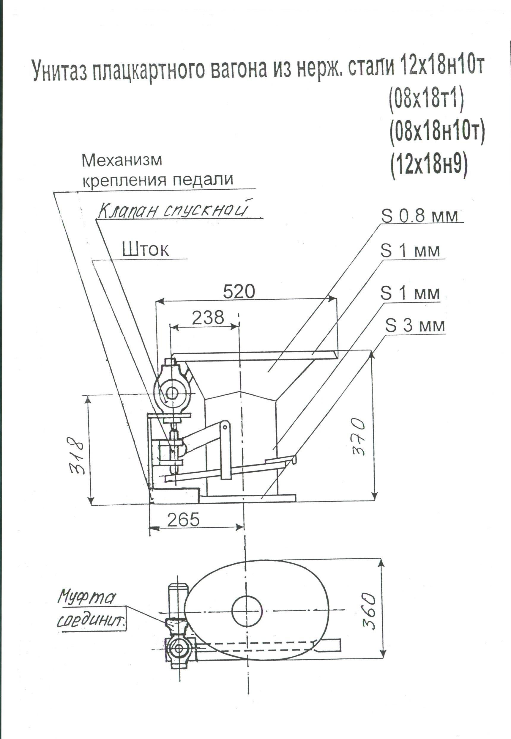 Чертеж унитаза ЦМВ0 56500-Н ПКБ ЦВ МПС